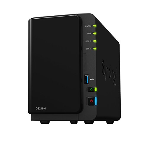 Synology DS216 + II 2 Bay Desktop NAS Unit con Dual Core CPU, hot-swappable Drive Tray Design