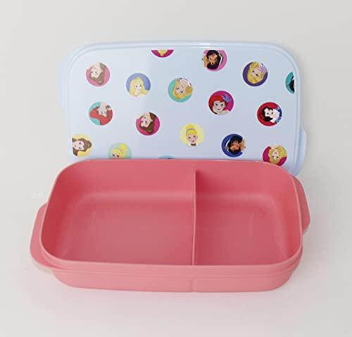 Tupperware Clevere Pause 590 ml con 2 compartimentos de princesa, color rosa y azul claro, edición limitada + cuchara colgante lima