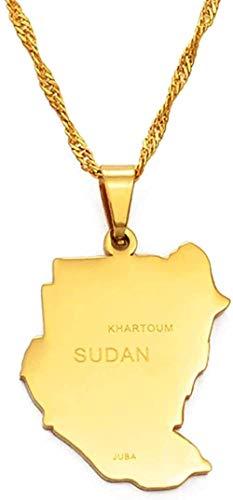 LBBYMX Co.,ltd Collar Collares Pendientes Originales de Sudán Color Dorado Mapa de Sudán Joyería Acero Inoxidable Mapa Africano