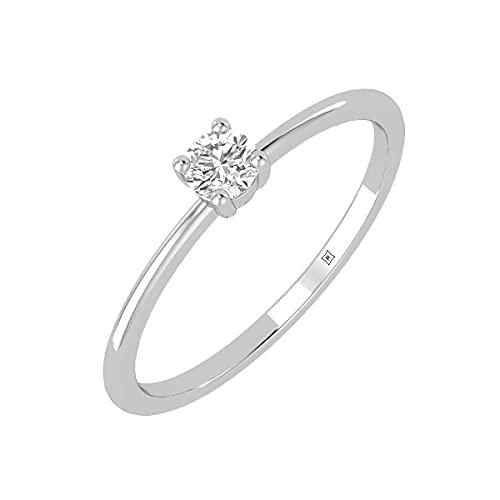 Rikhava Diamonds Solitario, compromiso, anillo de bodas para mujer, joyería con oro blanco de 10 K, anillo certificado IGI de 0,09 quilates -52