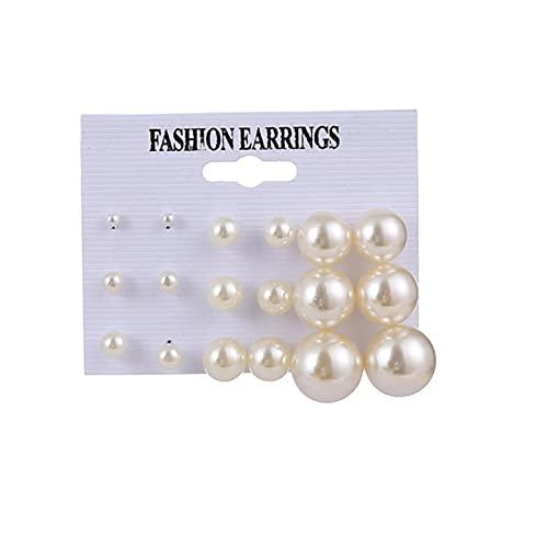 CXWK Conjunto de Pendientes para Mujer Pendientes de aro de Perlas Coreanos de Moda para Mujer Pendiente de círculo Dorado Tendencia Regalo de joyería