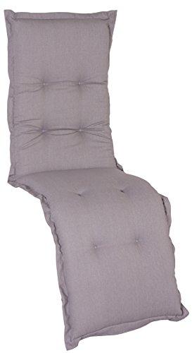Beo Relaxsessel Auflage Wasserabweisend Nizza   Made in EU Premium-Qualität   Liegestuhl Auflage UV-beständig, fleckenabweisend und waschbar   Atmungsaktive Relaxstuhl Auflage in Grau