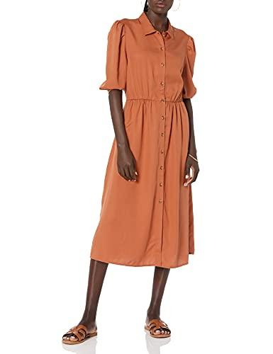 The Drop Ellen Midi-Hemdkleid mit Puffärmeln und offenem Rücken, für Damen