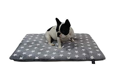 HS-Hundebett rutschfeste Hundedecke in 6 Größen I Qualität Made in Germany I waschbar bei 40° I weiche Kuscheldecke mit 4 cm Polster-Füllung (65 x 95 cm, Sterne Grau)