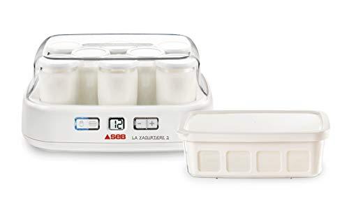 Seb YG500100 Yaourtière Duetto 8 Pots de Yaourt Inclus Fromage Blanc Programmable Écran LCD Minuteur 30W Blanc