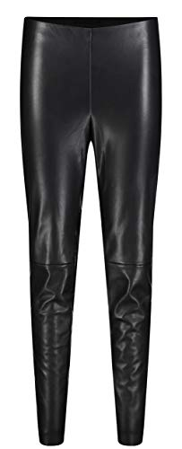 MAC JEANS Damen Leather Leggings, Schwarz (Black 090), 42W/30L
