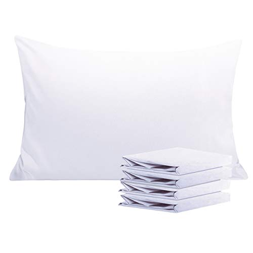 NTBAY 100% Brushed Microfiber Pillowcases Set of 4, Soft and Cozy, Wrinkle, Fade, Stain Resistant, 20'x 30', White