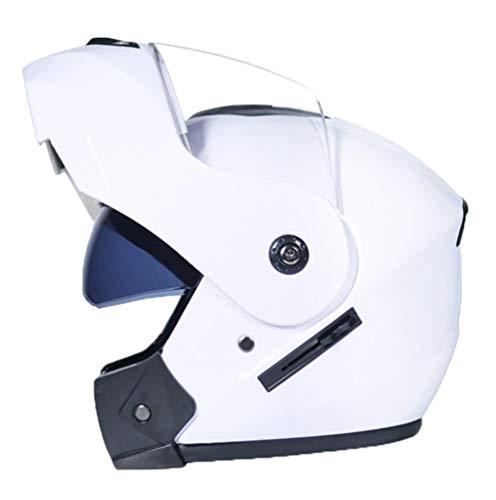 Mengyu Motorrad-Helm mit Doppelvisier Sonnenblende Motorradhelm Integralhelm Rollerhelm Fullface für Damen Herren Erwachsene (Weiß, 54-55cm)
