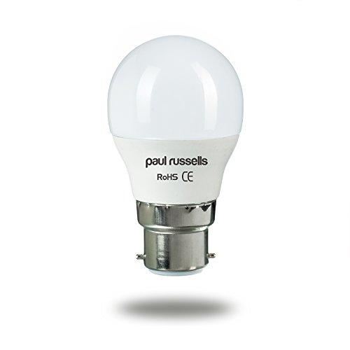 Golfball-LED-Glühlampen, 3Stück, 3W, B22BC, Bajonettsockel von Paul Russel, 3W = 25W, G45, kleine Kugelform, 270Grad-Abstrahlwinkel, 2700K, Warmweiß, 25W, Ersatz
