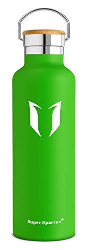 Super Sparrow Standardausführung Trinkflasche Edelstahl Wasserflasche - Isolier Flasche - Perfekte Thermosflasche, Standard-Mund Sportflasche mit Bambuskappe