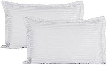 Ahmedabad Cotton Luxurious Sateen Striped Pillow Cover/Case Set (2 Pcs) 300 Thread Count - White