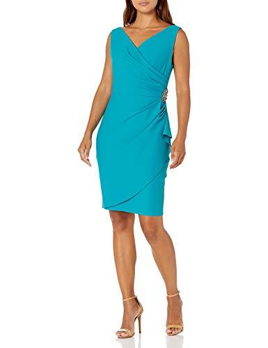 Alex Evenings Damen Slimming Short Ruched Dress with Ruffle Skirt (Petite and Regular Sizes) Kleid für besondere Anlässe, türkis, 46