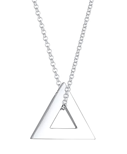 Kuzzoi Collar para hombre con colgante en forma de triángulo , cadena para hombre de plata de ley 925, cadena con triángulo de triángulo para hombre