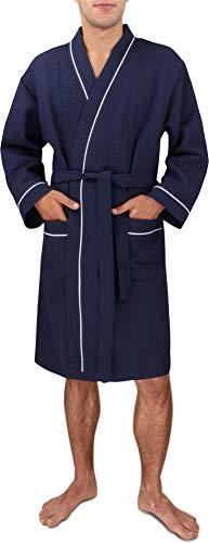 Herren Morgenmantel aus 100% Baumwolle - Waffelbademantel - dünner Kimono für Männer [Gr. S - 4XL} Farbe Navy Größe S