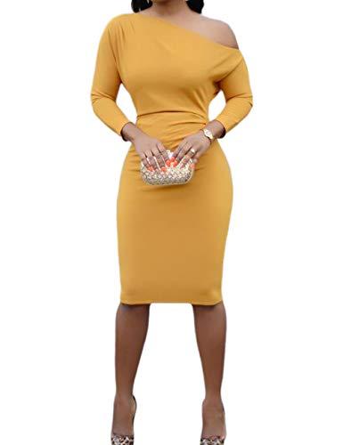 CHICME BEST SHOPPING DEALS Damen Eine Schulter Bodycon Midi Kleid Gelb M