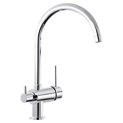 Küche Armatur mit Maschinenanschluss Geräteanschluss Küchenarmatur Einhebelmischer Wasserhahn küche armatur (Hochauslauf, Chrom)