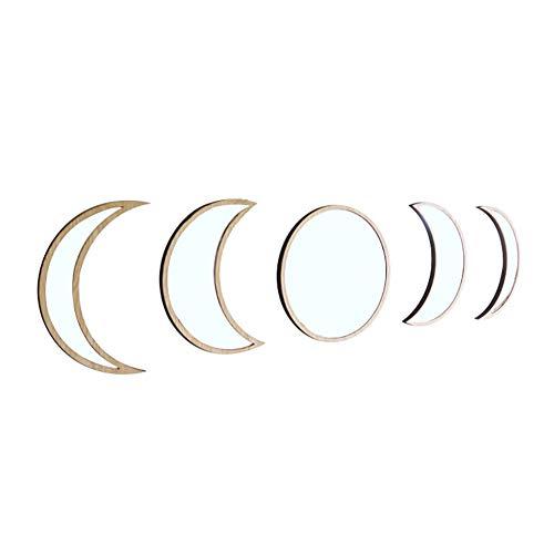 XXLYY 5pcs Fase de la Luna de Madera de Pared de acrílico del Montaje del Espejo Etiqueta de la Pared Principal Decorativo del Fondo de la habitación Espejo de Estar Decoración del Dormitorio,A