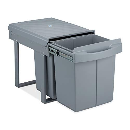 relaxdays 10031545, gris poubelle encastrable coulissante, 2 bacs, système de trie pour le sous-évier, 2x 20 l, HLP 41x34x52 cm