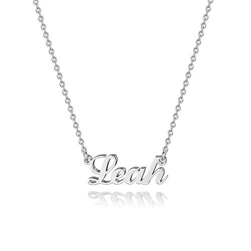 Hidepoo Leah Jewelry Necklace - Personalized Name Pendant Necklace, Dainty Leah Name Necklace Chain Jewelry Gifts for Women Girls