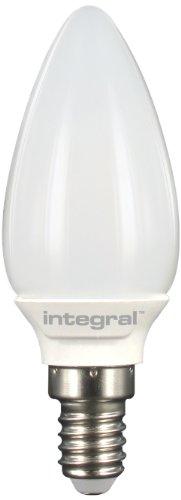 Integral LED ILB35E14O2.9N03KHCWA Ampoule Chandelle LED E14 Omni Directionnel 2,9 W 3000 K 250 lm Non Dimmable Forme de Flamme Aluminium/Plastic/Verre/Laiton Nickelé Blanc 9,6 x 3,5 cm