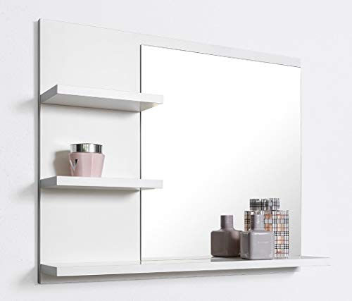 DOMTECH Badspiegel mit Ablagen, Weiß Badezimmer Spiegel, Wandspiegel, Badezimmerspiegel L