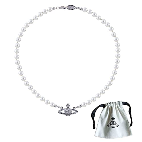 Saturn Perlenkette, Planet Kristall Strass Halskette für Damen und Mädchen, Hochzeit Perlenkette für Bräute Weiß