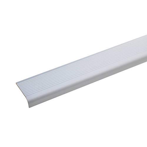 acerto 51017 Perfil angular de escalera de aluminio - 100cm 15x40mm plateado I Antideslizante I Robusto I De fácil instalación I Perfil de borde de escalera perfil de peldaño de escalera de aluminio