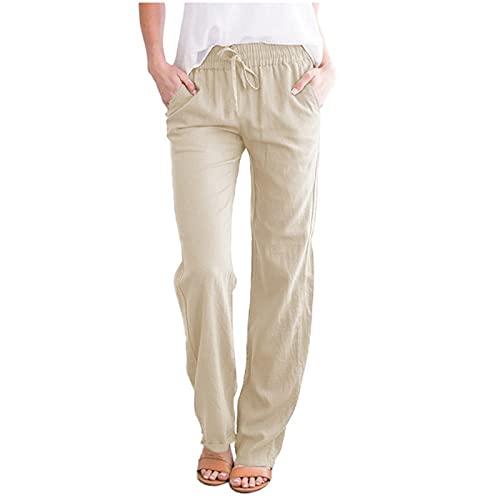 OutTop Linen Cotton Pants for Women s Drawstring Elastic Waist Pants Loose Fit Comfy Lounge Harem Trousers Pants (Beige, M)