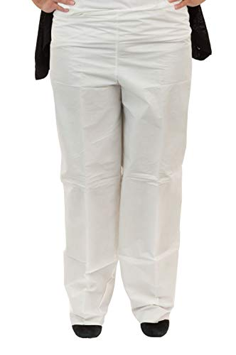 Microguard MP Microporous Pants (White)   Particulate & Splash Protection/Disposable Hazmat Pants with Elastic Waist for Paint and Particulates (2XL, Case of 50)