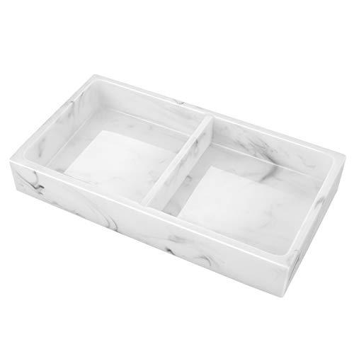 Emibele Harz Tablett, Zwei Fächer Schmuck Waschbecken Aufbewahrungsbox mit Abnehmbarem Teiler Sandmuster Schmuckaufbewahrung Decorative Waschtisch Tablett für Badzimmer Küche - Tinte weiß