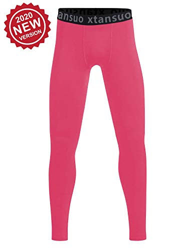 Youth Girls' Compression Pants Basketball Tights Sports Leggings Quick Dry Fit Active Stretch Athletic Training Workout Cold Gear Soccer Baseball Football Running Hockey Baselayers for Kids Pink M