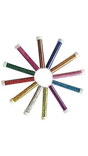 MOKIU Glitzer basteln Kinder Glitzerpulver Glitter Glitzer Puder zum Basteln Glitzer Pulver zum Streuen Deko für Kerzen Wandfarbe Streu Set 12 brilliante Farben