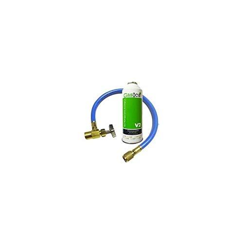REPORSHOP - 1 Bottiglia Gas Ecologico Gasica 255gr + valvola V2 + Tubo Flessibile Sostituto R22,...
