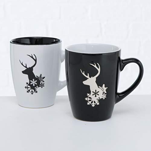 Becher Tasse Kaffeebecher Hirsch-Motiv Steingut 330 ml schwarz weiß 2er Set