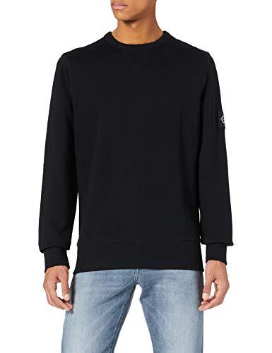 Calvin Klein Monogram Sleeve Badge Cn Suéter, CK Negro, L para Hombre