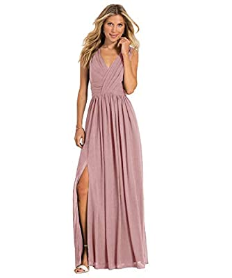 Yilis Women's Double V Neck Slit Chiffon Party Dress Long Formal Evening Bridesmaid Dresses Dusty Rose Size14