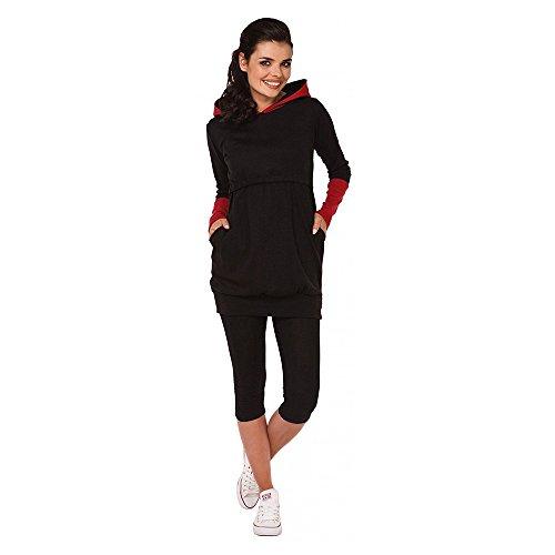 homese Still-Stillshirt für Damen mit langen Ärmeln Sweatshirt Top-Kleidung Schwarz S Nursing Top