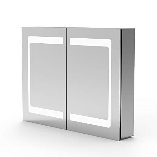Bad Spiegelschrank LED 80×60 cm Infrarot-Sensor Schalter, Kaltweiß, Softclose, DREI Stauräume, Aluminum
