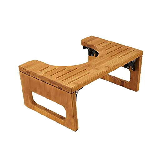 AmazerBath 8.5 Inches Bamboo Toilet Stool, Collapsible Potty Stool for Bathroom, Dark Wood Color