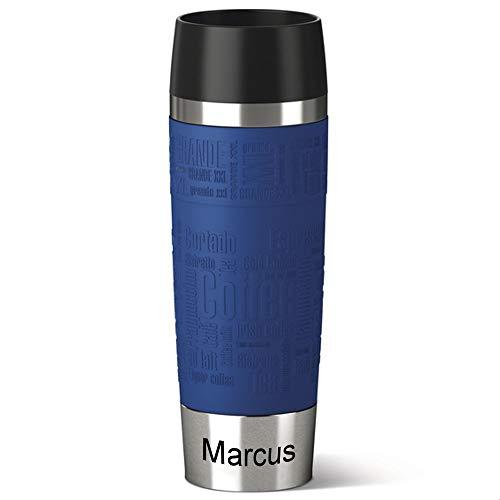 Emsa Isolierbecher MIT Gravur (z.B. Namen) 500ml TRAVEL Mug Grande Manschette Blau mit persönlicher Rundgravur, Travelmug Kaffee Tee Thermo to-go-Becher mit Quick Press Verschluss 100% auslaufsicher