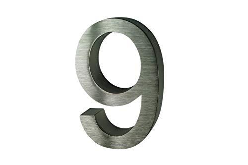 número de casa Acero Inoxidable nº 9/H16 cm/Filigrana Text