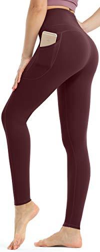 Persit Damen Sport Leggings, High Waist Yogahose Lang Sporthose Sportleggins Tights Cassis rot XS
