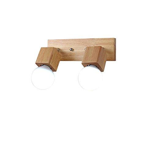Pouluuo Personnalité lampe de mur en bois massif salon chambre lampe de chevet moderne minimaliste wall miroir phares/tête unique