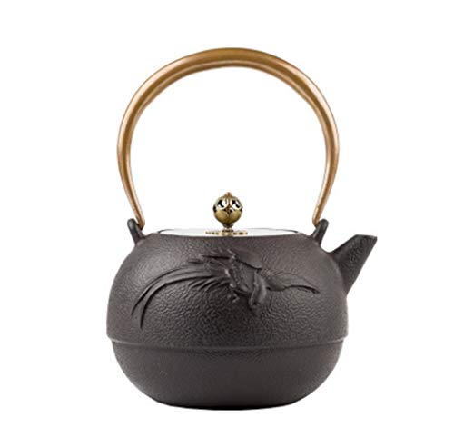 Vintage Teapot Teapot with Copper Handle and Copper Lid Retro Chinese Home Tea Maker Cast Iron Teapot with Enamel Oxidation Liner Japanese Style Cast Iron Tea Pot Housewarming Gift