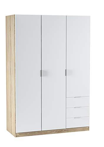 Esidra Armadio Guardaroba, 3 Ante + 3 cassetti, 121 x 180 x 52 cm