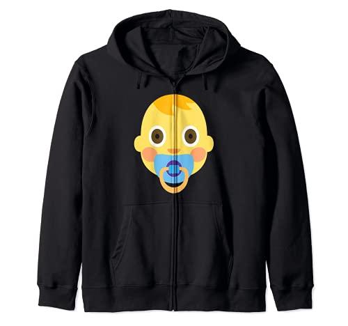 Emoji Bebé Niño Lindo Adorable Chupete Niño Cabello Nuevo Sudadera con Capucha