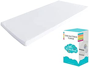 """Little Sleepy Head Waterproof Crib Mattress Pad, 2"""" Ventilated Soft Memory Foam Topper for Toddler Bed Mattress or Crib Padding, Removable Washable Non-Slip Cover"""