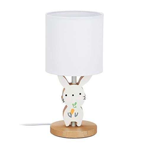Relaxdays Nachttischlampe Kinder, Junge & Mädchen, Kinderzimmer, Stoffschirm, süße Hasen Tischlampe, HxD 36x17 cm, weiß