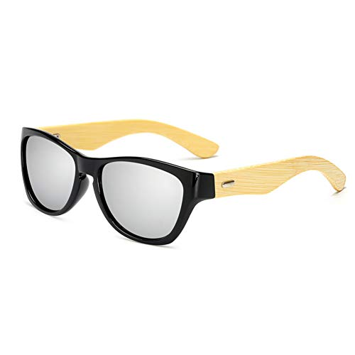 N/ A mannen bamboe vierkante zonnebril vrouwen spiegel lens zonnebril fietsbril UV400 bril