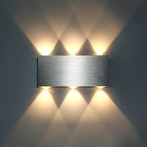 Lightess 6W Wandlampe LED Wandleuchte Innen Modern Up Down aus Aluminium für Wohnzimmer Schlafzimmer Treppenhaus Flur, Warmweiß